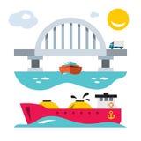 Puente y envío del mar del vector Ejemplo colorido de la historieta del estilo plano stock de ilustración