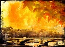 Puente y hojas de Grunge París Imagen de archivo libre de regalías