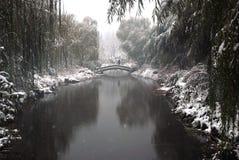 Puente y nevadas fuertes imágenes de archivo libres de regalías