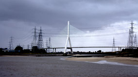 Puente y pilones Foto de archivo libre de regalías
