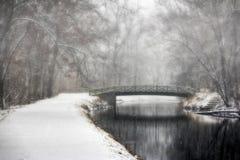 Puente y rastro en paisaje del invierno Foto de archivo libre de regalías
