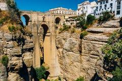 Puenten Nuevo - ny bro i Ronda, landskap Arkivfoto