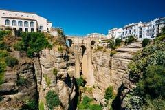 Puenten Nuevo, ny bro, i Ronda, Spanien Royaltyfri Fotografi