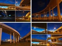 Puentes de la ciudad de la noche del collage Foto de archivo