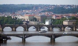 Puentes de Veltava en Praga fotografía de archivo libre de regalías