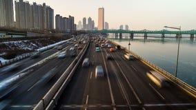 Puentes del yoido de la ciudad de Seul almacen de metraje de vídeo