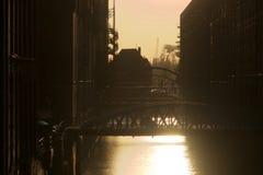 Puentes en el Speicherstadt de Hamburgo fotografía de archivo