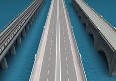 Puentes sobre el mar representación 3d Imagen de archivo libre de regalías