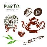 puer茶的速写的例证 库存图片
