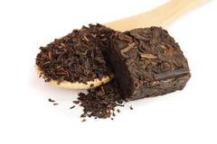 在白色背景隔绝的puer茶圆的平的圆盘 被按的汉语被发酵的Puerh茶 免版税库存图片