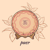 Puer tea on brown background. Illustration with chinese tea puer on color background Stock Images