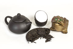 Puer tea. Still life the Chinese tea ceremony with black Puer Stock Image