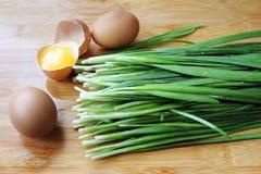 Puerro y huevo imagen de archivo libre de regalías