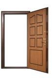Puerta abierta con el ajuste de madera Fotografía de archivo libre de regalías