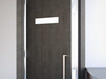 Puerta abierta con el letrero representación 3d stock de ilustración