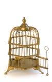 Puerta abierta de la jaula adornada de cobre amarillo del birdcage. Fotografía de archivo libre de regalías