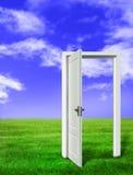 Puerta abierta en prado ilustración del vector