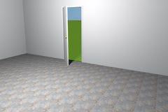 Puerta abierta en sitio vacío stock de ilustración