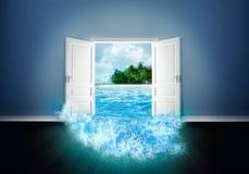Puerta abierta a la playa libre illustration