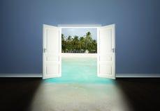 Puerta abierta a la playa ilustración del vector