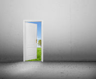 Puerta abierta a un nuevo mundo, el paisaje verde del verano. Conceptual Fotos de archivo libres de regalías