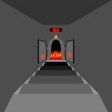 Puerta al infierno Abra la puerta ardiente del purgatorio Puerta al infierno Entra Imagen de archivo libre de regalías