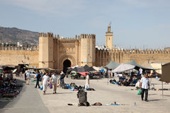 Puerta al Medina en Fes, Marruecos Imágenes de archivo libres de regalías