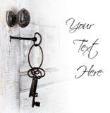 Puerta antigua con claves en el bloqueo Foto de archivo libre de regalías