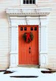 Puerta antigua en la Navidad Foto de archivo