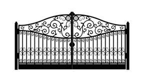 Puerta arqueada del metal con los ornamentos forjados en un fondo blanco Puertas hermosas del ornamento del hierro Ilustraci?n EP ilustración del vector