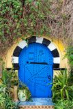 Puerta azul adornada en Túnez Foto de archivo