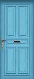 Puerta azul - con el rectángulo de carta Imágenes de archivo libres de regalías