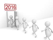 Puerta blanca del Año Nuevo de 3d Person Enterring In 2016 Imagen de archivo libre de regalías