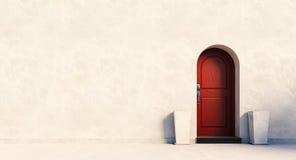 Puerta británica roja de la casa Imagenes de archivo