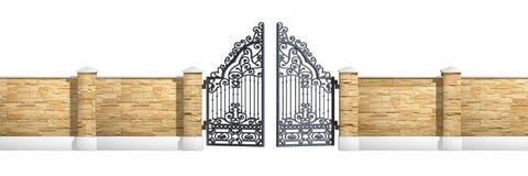 Puerta clásica del hierro del negro del diseño Fotos de archivo libres de regalías