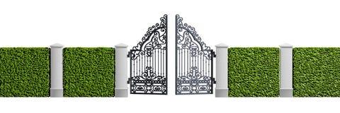 Puerta clásica del hierro del negro del diseño Imagen de archivo