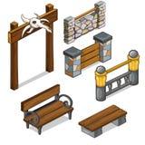 Puerta con el cráneo, sistema de cercas y bancos Vector stock de ilustración