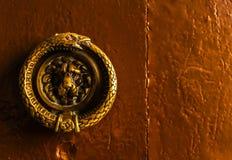 Puerta con el golpeador de cobre amarillo en la forma de un león, entra hermoso Foto de archivo libre de regalías