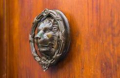 Puerta con el golpeador de cobre amarillo en la forma de un león, entra hermoso Fotos de archivo