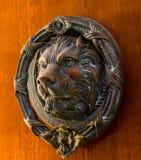 Puerta con el golpeador de cobre amarillo en la forma de un león, entra hermoso Imagen de archivo libre de regalías