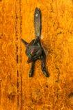 Puerta con el golpeador de cobre amarillo en la forma de un zorro, entran hermoso Fotografía de archivo