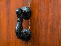 Puerta con el golpeador de cobre amarillo en la forma de una decoración, entr hermoso Fotografía de archivo