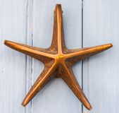 Puerta con el golpeador de cobre amarillo en la forma de una estrella de mar, e hermosa Imagenes de archivo