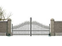 Puerta con los arbustos Imagen de archivo