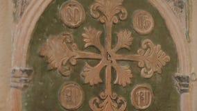 Puerta cuarta armenia del chruch con una Jerusalén cruzada almacen de metraje de vídeo