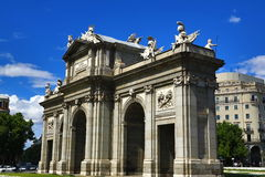 Puerta de Acala, the old buildings in Madrid, Spain Stock Photography
