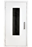 Puerta de acero blanca con el vidrio, aislado sobre el fondo blanco fotografía de archivo libre de regalías