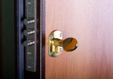 Puerta de acero con la cerradura Imagen de archivo