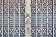 Puerta de acero gris Imagen de archivo libre de regalías