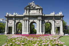Puerta de Alcalá, Madrid. The Puerta de Alcalá (Alcalá Gate) is a Neo-classical monument in the Plaza de la Independencia (Independence Square) in Royalty Free Stock Image